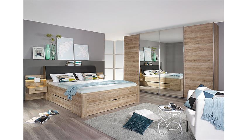 Schlafzimmer-Set BENSHEIM Eiche Sanremo hell 4 Teilig