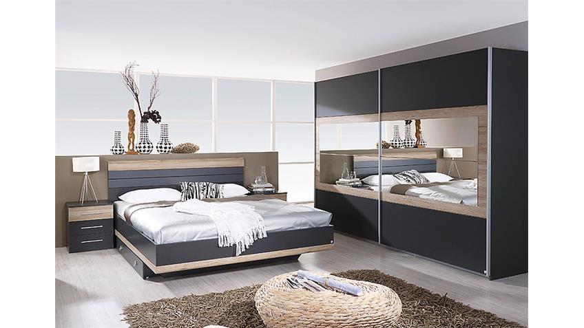 Schlafzimmer-Set TARRAGONA Grau-Metallic Eiche Sanremo hell