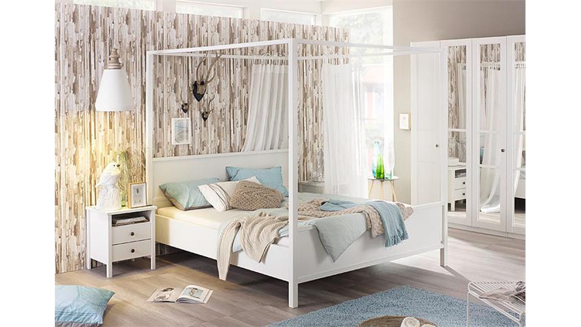 Schlafzimmer-Set 1 MARIT Bett Kleiderschrank Nako Weiß