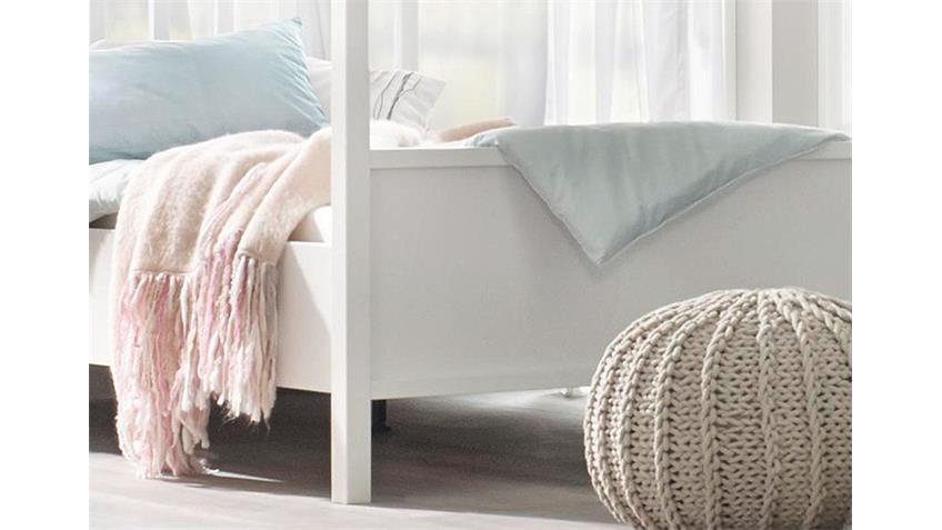 Himmelbett MARIT Bett Weiß Kopfteil Sprossen 180x200 cm