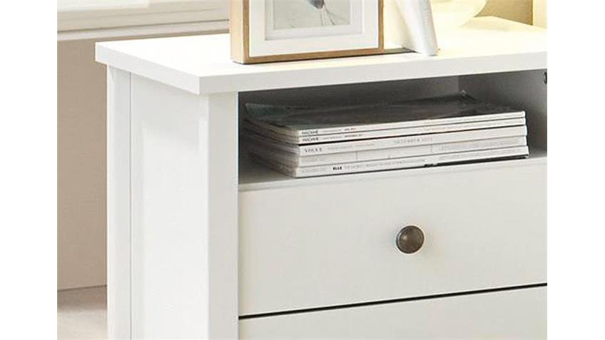 Nachtkommode MARIT Nachttisch Weiß mit Schubladen