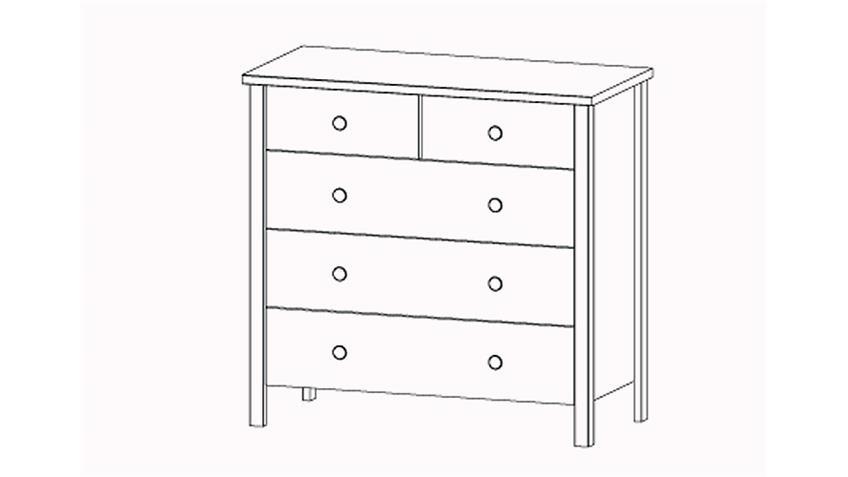 Kommode MARIT Weiß mit 5 Schubladen und Knopfgriffen