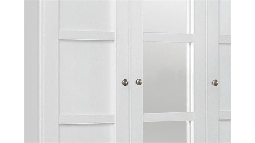 Kleiderschrank MARIT Weiß mit Spiegel Breite 136 cm
