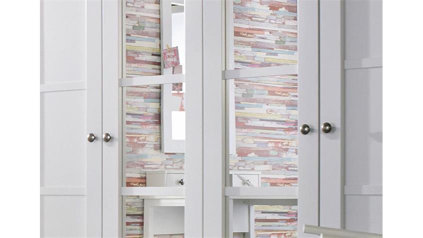 Kleiderschrank MARIT Weiß mit Spiegel Breite 181 cm