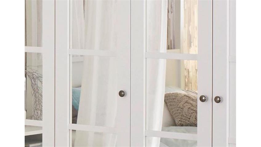 Kleiderschrank MARIT Weiß mit Spiegel Breite 225 cm