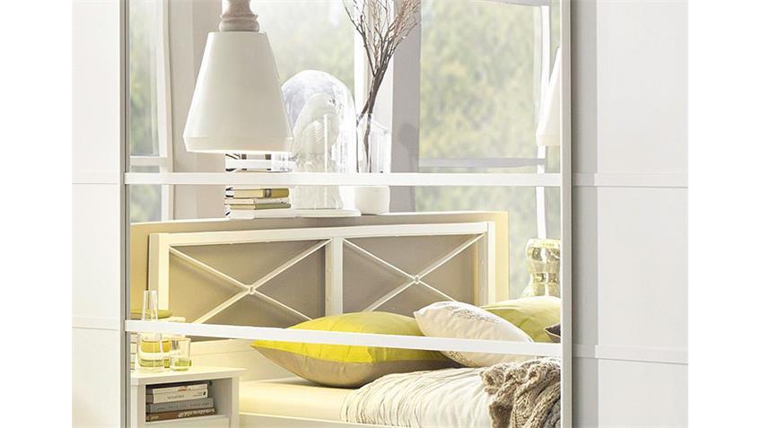 Schwebetürenschrank MARIT Weiß mit Spiegel Breite 315 cm
