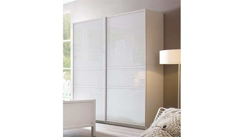Schwebetürenschrank MARIT weiß Glas Breite 181 cm