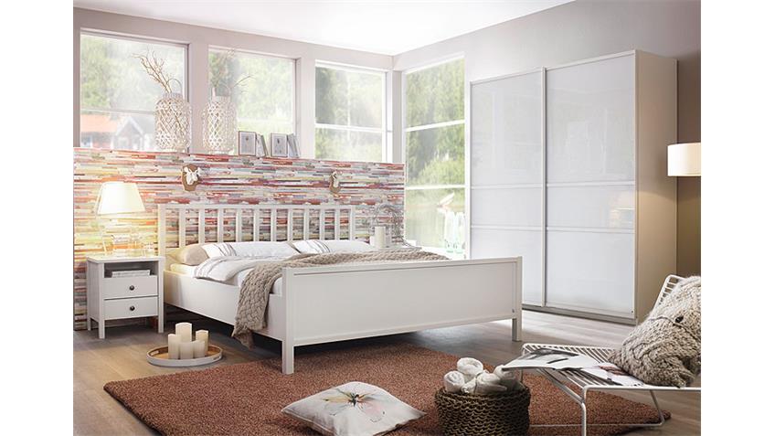 Schlafzimmer-Set 2 MARIT Bett Kleiderschrank Nako Weiß