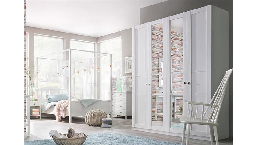 Schlafzimmer-Set 4 MARIT Bett Kleiderschrank Nako Weiß