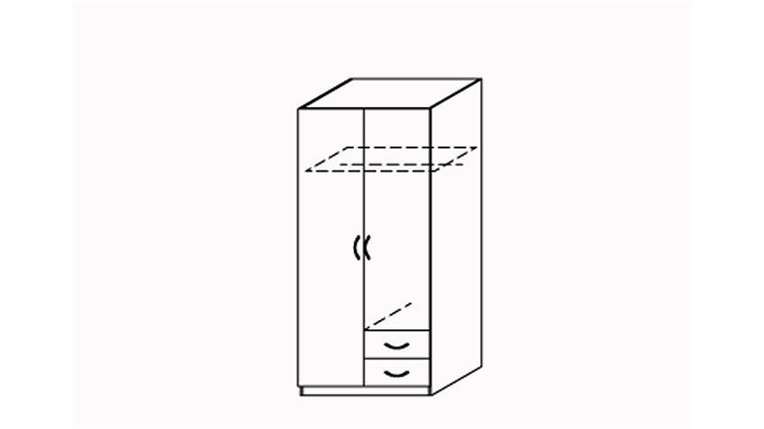 Kleiderschrank 2 Prima 4You mit 2 Türen Weiß B 91 cm
