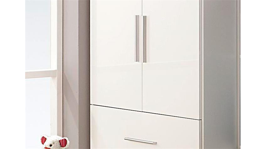 Kleiderschrank MANJA Weiß Hochglanz 2 Türen Breite 91 cm