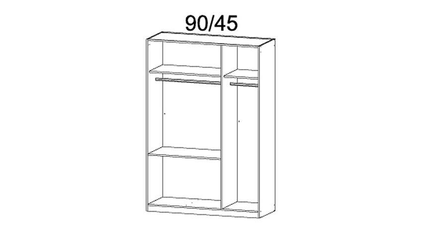 Kleiderschrank MANJA Weiß Hochglanz 3 Türen B 136 cm