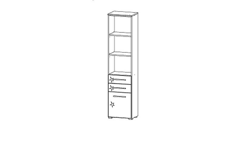 Regal MANJA Weiß Hochglanz hoch 2 Türen B 47 cm
