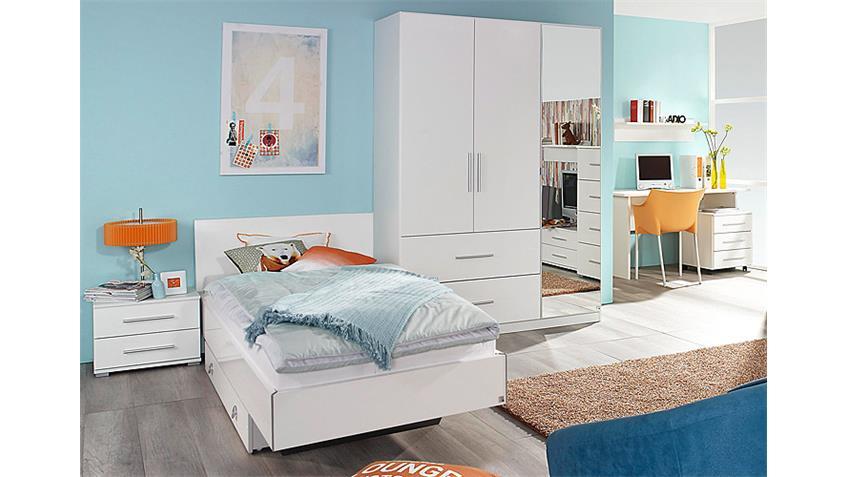 Jugendzimmer-Set MANJA Kinderzimmer Weiß Hochglanz 5-teilig