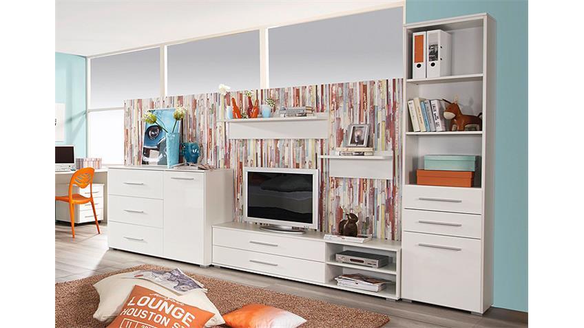 Wohnkombi MANJA für Jugendzimmer Weiß Hochglanz 5-teilg