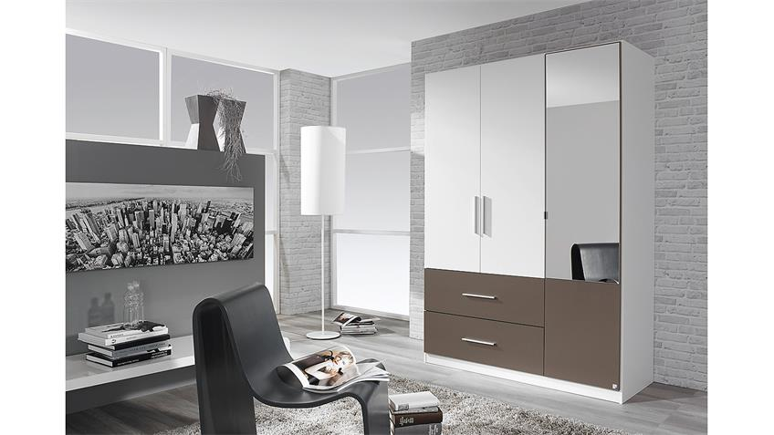 kleiderschrank alvor schrank in wei und lavagrau mit spiegel 136 cm. Black Bedroom Furniture Sets. Home Design Ideas