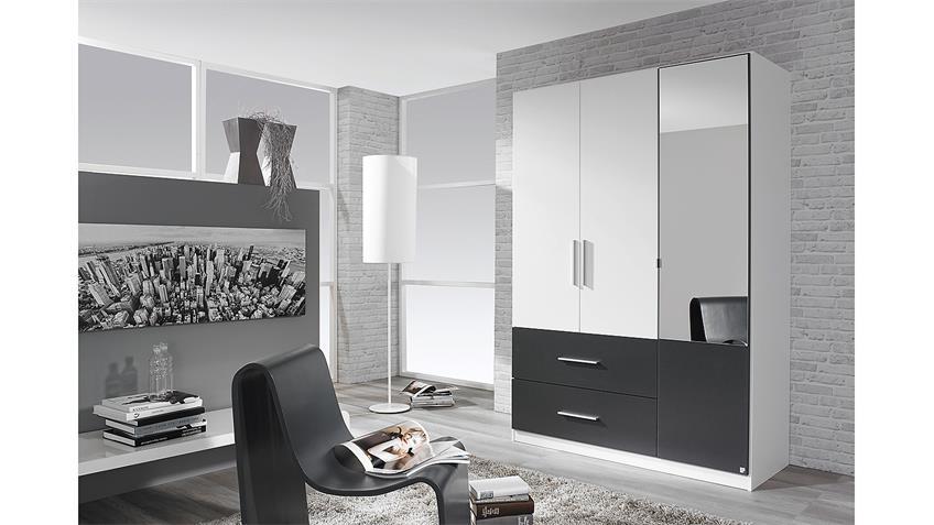 Kleiderschrank ALVOR Schrank in weiß grau metallic mit Spiegel 136 cm