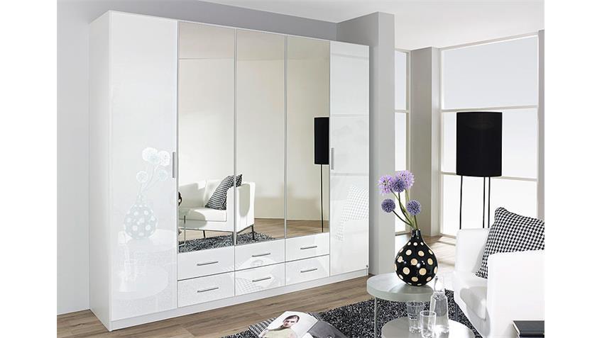 Kleiderschrank HILDEN Weiß Hochglanz 5 Türen B 226 cm