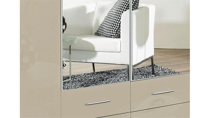 Kleiderschrank HILDEN Sandgrau Hochglanz Weiß B 226 cm