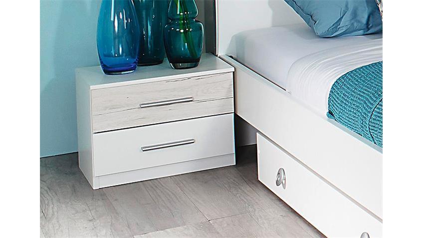 Schlafzimmer-Set HEINSBERG Weiß Eiche Sanremo Weiß