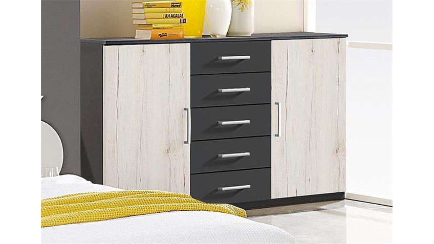 sideboard cartagena grau metallic san remo eiche wei. Black Bedroom Furniture Sets. Home Design Ideas