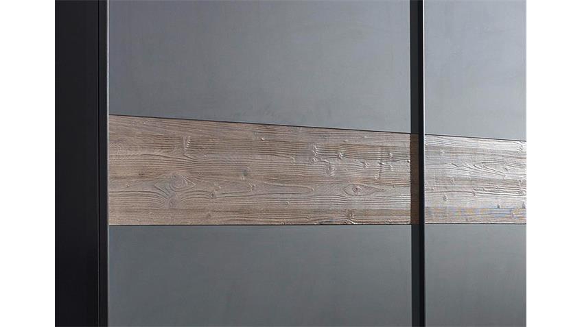 Schwebetürenschrank BAYAMO Glas matt schwarz Lärche