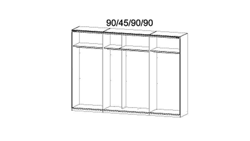 Schwebetürenschrank BAYAMO Glas matt Weiß Wildeiche 315 cm