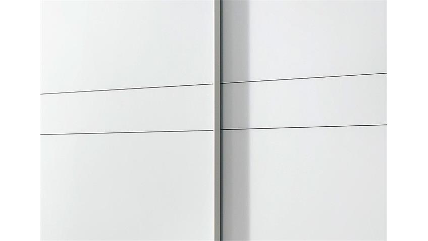 Schwebetürenschrank BAYAMO Glas matt Weiß B 225 cm