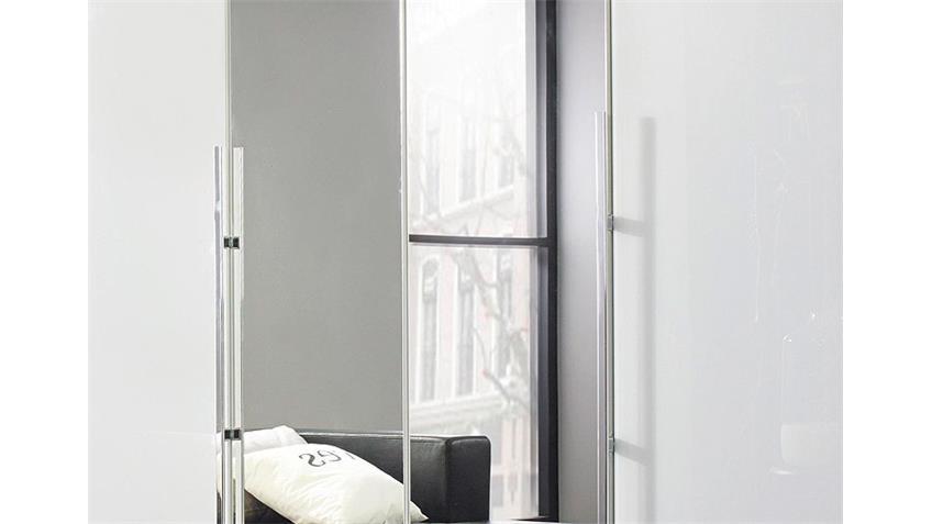 Kleiderschrank BAYAMO Glas Weiß Spiegel B 181 cm 4 Türen