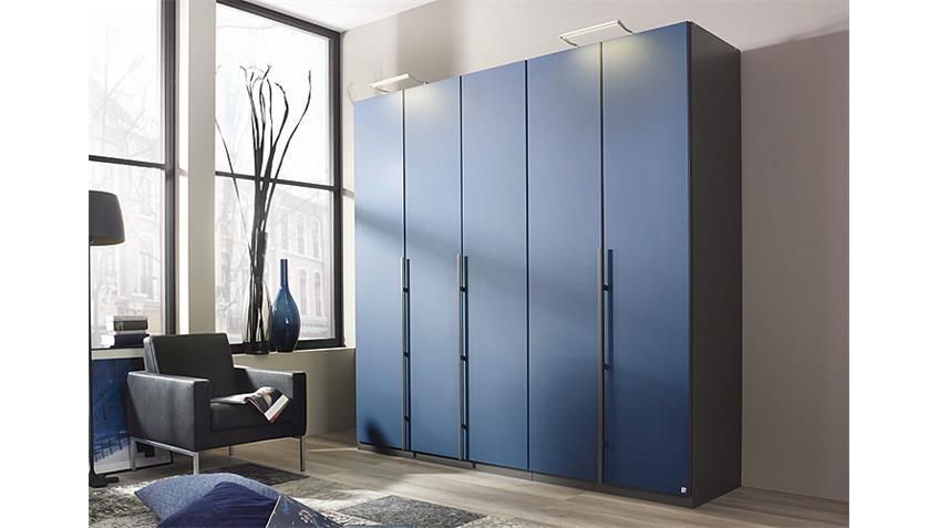 Kleiderschrank BAYAMO Glas matt Blau und Graphit B 225 cm