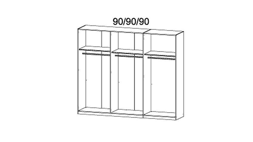 Kleiderschrank BAYAMO Glas schwarz matt Breite 270 cm
