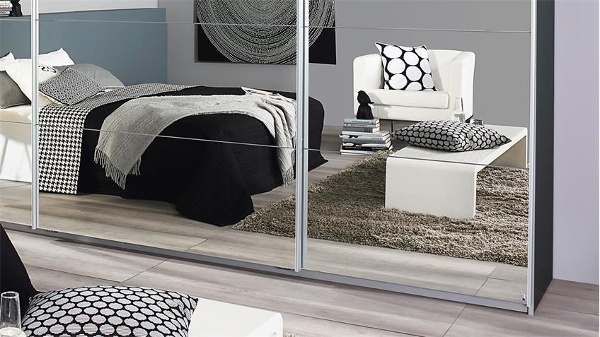 Schwebetürenschrank QUADRA grau metallic mit Spiegel 315