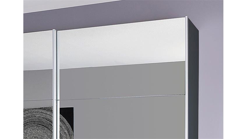 Schwebetürenschrank QUADRA Grau-Metallic Spiegel 315 cm