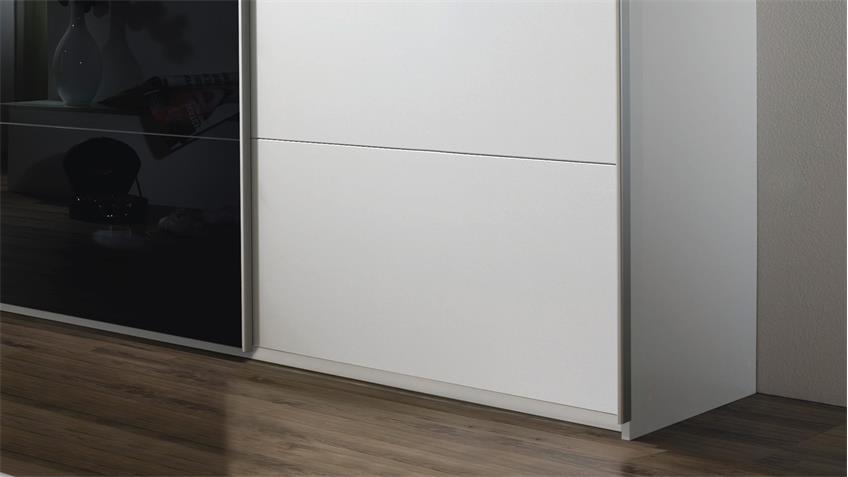 Schwebetürenschrank QUADRA in weiß schwarz Glas 315x210