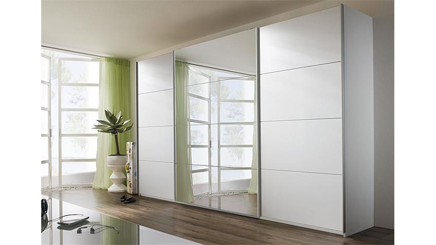 Schwebetürenschrank QUADRA Weiß mit Spiegel 315 cm