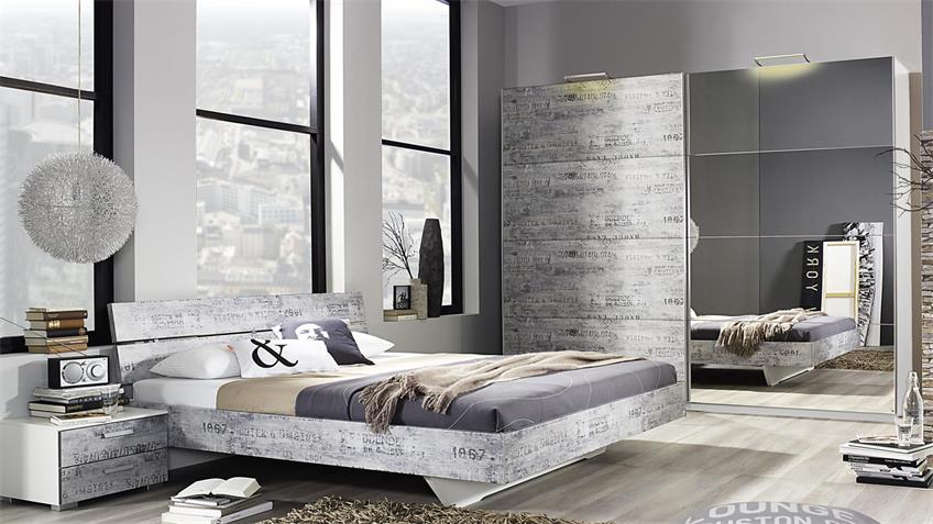 Schlafzimmer Sumatra Extra Alpinweiß Vintage grau