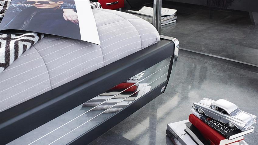 Bett CUBANA rot weiß schwarz chrom Schlafzimmerbett 180x200