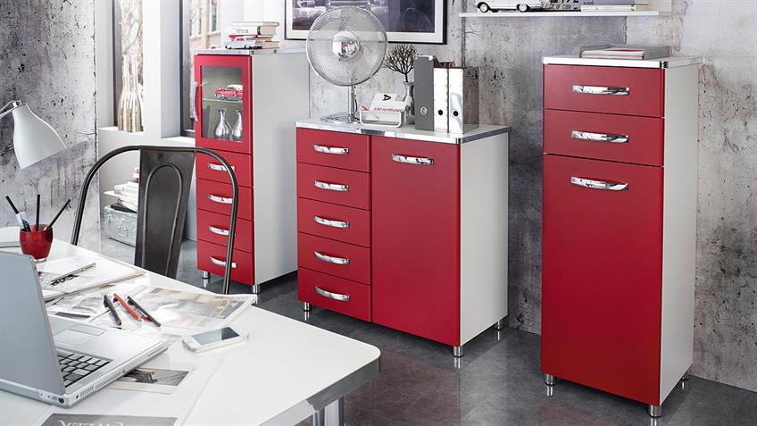 Konsole CUBANA Kommode Schrank in weiß rot und chrom