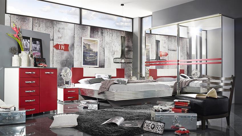 Schwebetürenschrank CUBANA weiß rot und chrom Spiegel 270