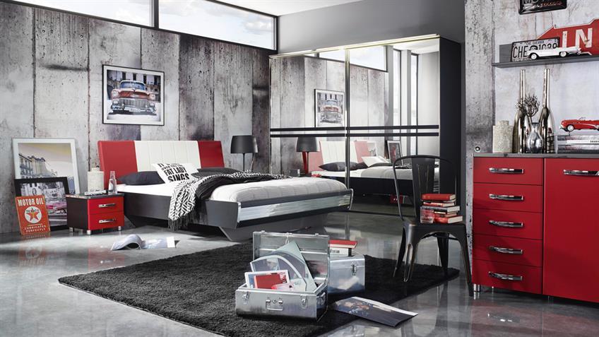 Nachttisch CUBANA Kommode Nako in schwarz rot und chrom