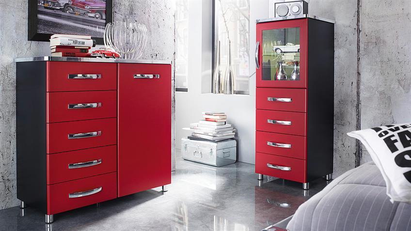 Vitrine CUBANA Kommode Schrank in schwarz rot und chrom