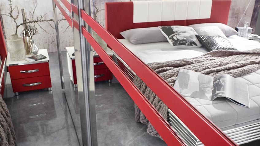 Schlafzimmer CUBANA Bett Schrank Nako weiß rot chrom