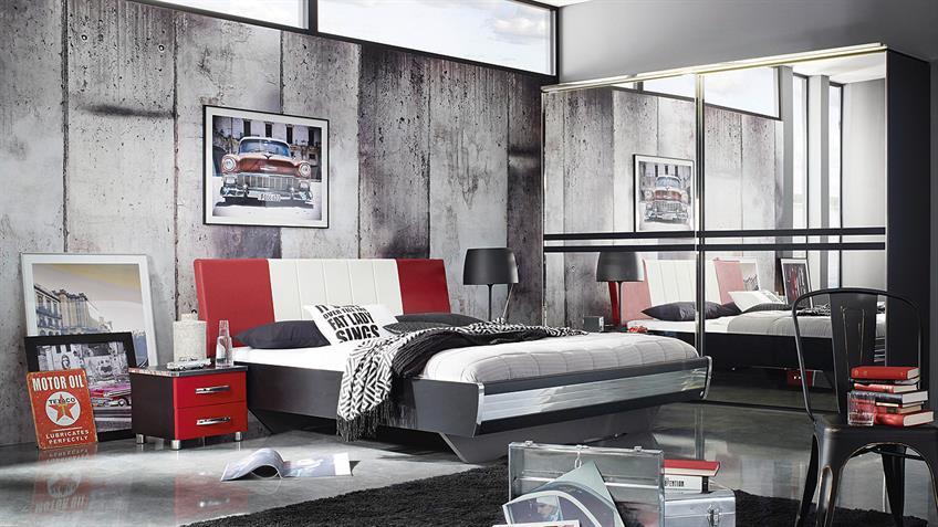 Schlafzimmer CUBANA Bett Schrank Nako schwarz rot chrom
