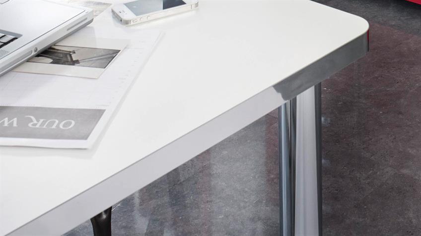 Schreibtisch CUBANA Bürotisch in weiß und chrom