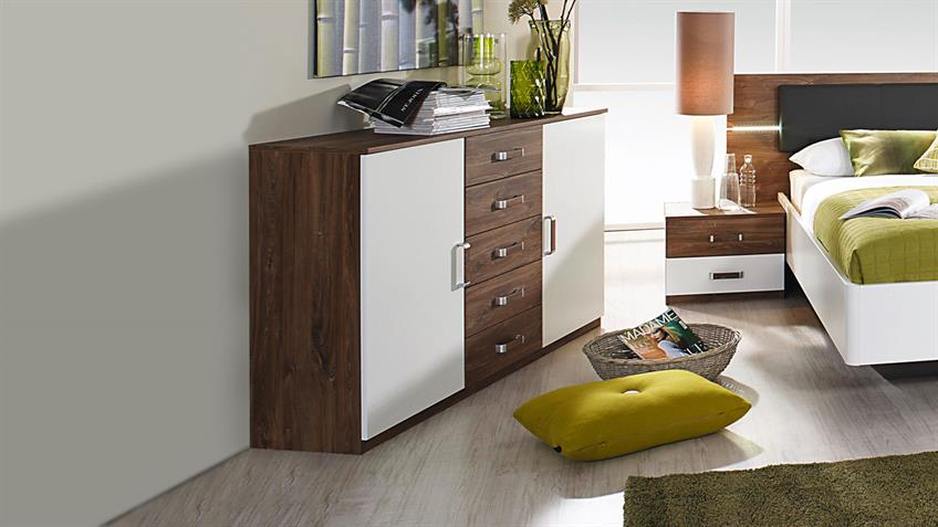 Sideboard LEIMEN Kombikommode Kommode in weiß Eiche Stirling
