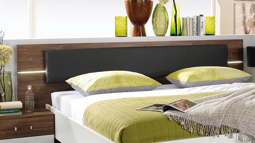 Schlafzimmer 1 LEIMEN Bett Schrank weiß Eiche Stirling LED