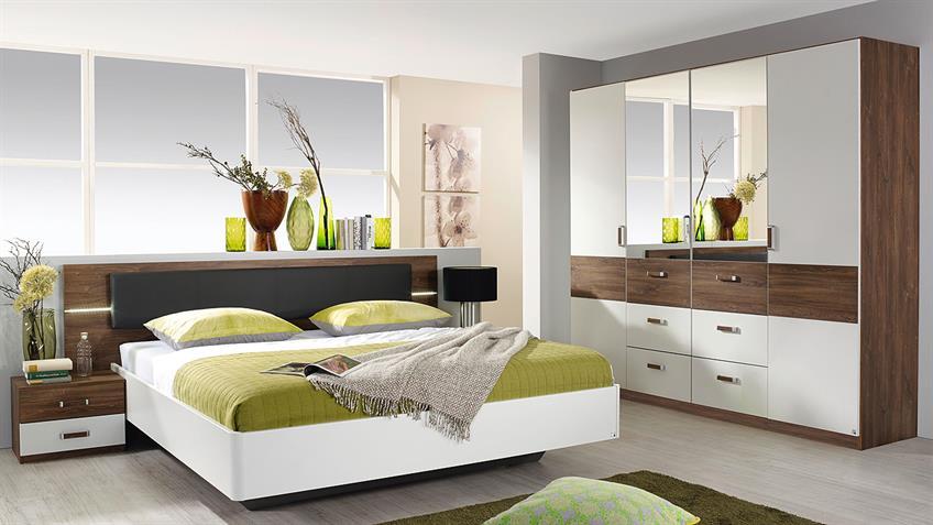 Schlafzimmer 2 LEIMEN Bett Schrank weiß Eiche Stirling LED