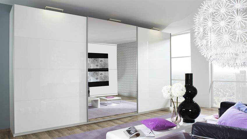 Schwebetürenschrank BELUGA in weiß Hochglanz Spiegel 360x223