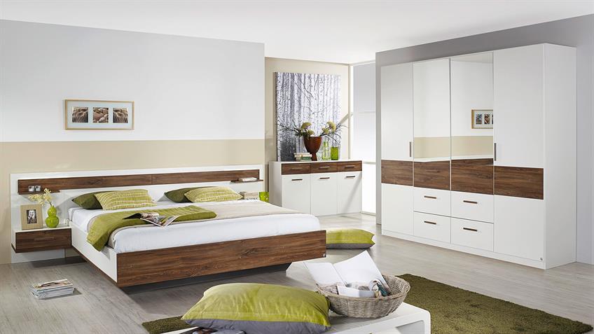 Schlafzimmer JENA Schrank Bett Nako in weiß Eiche Stirling