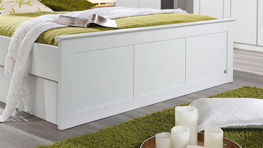 Schlafzimmer 1 ROSENHEIM Bett Schrank Nachttisch in weiß